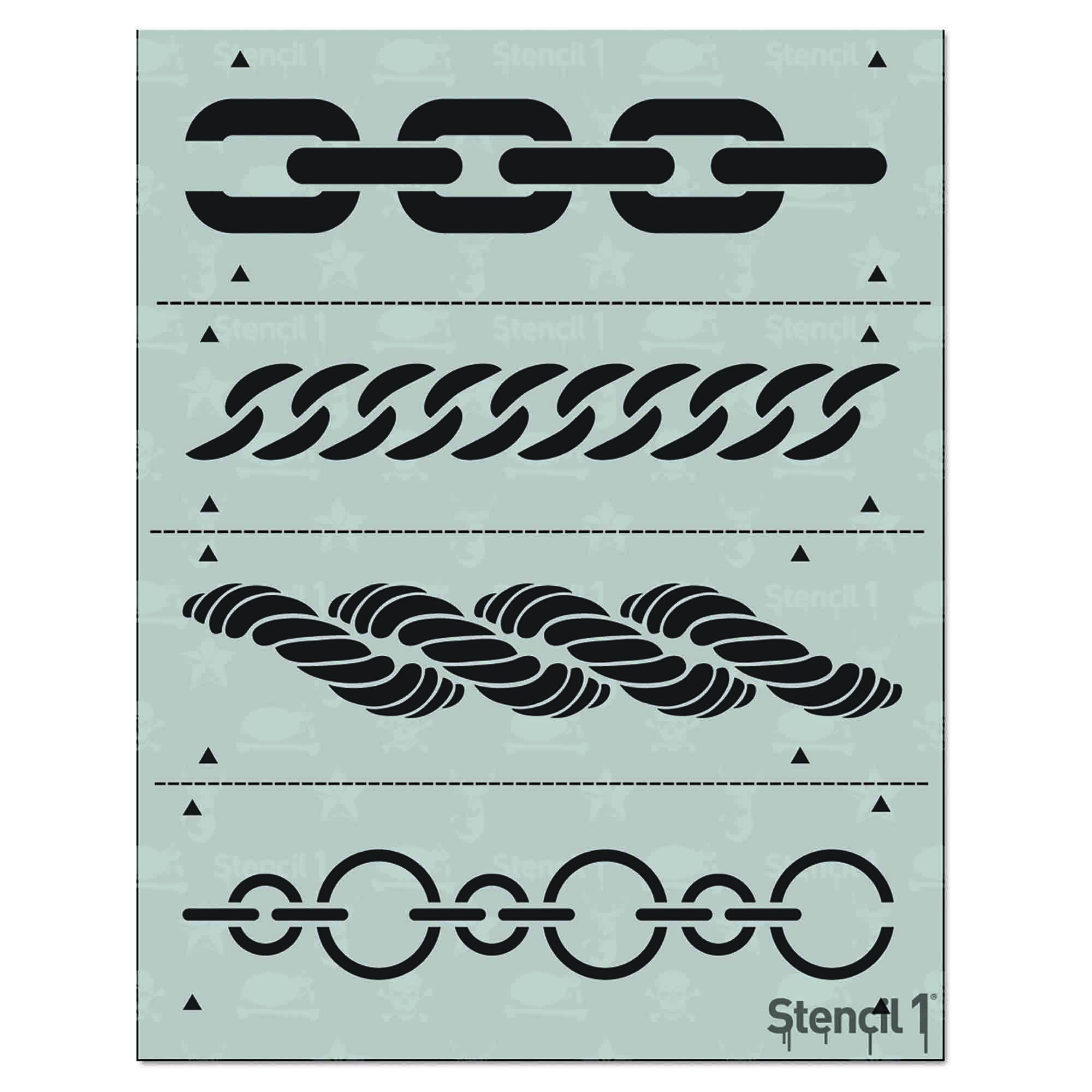 Border damask stencil 4Pack