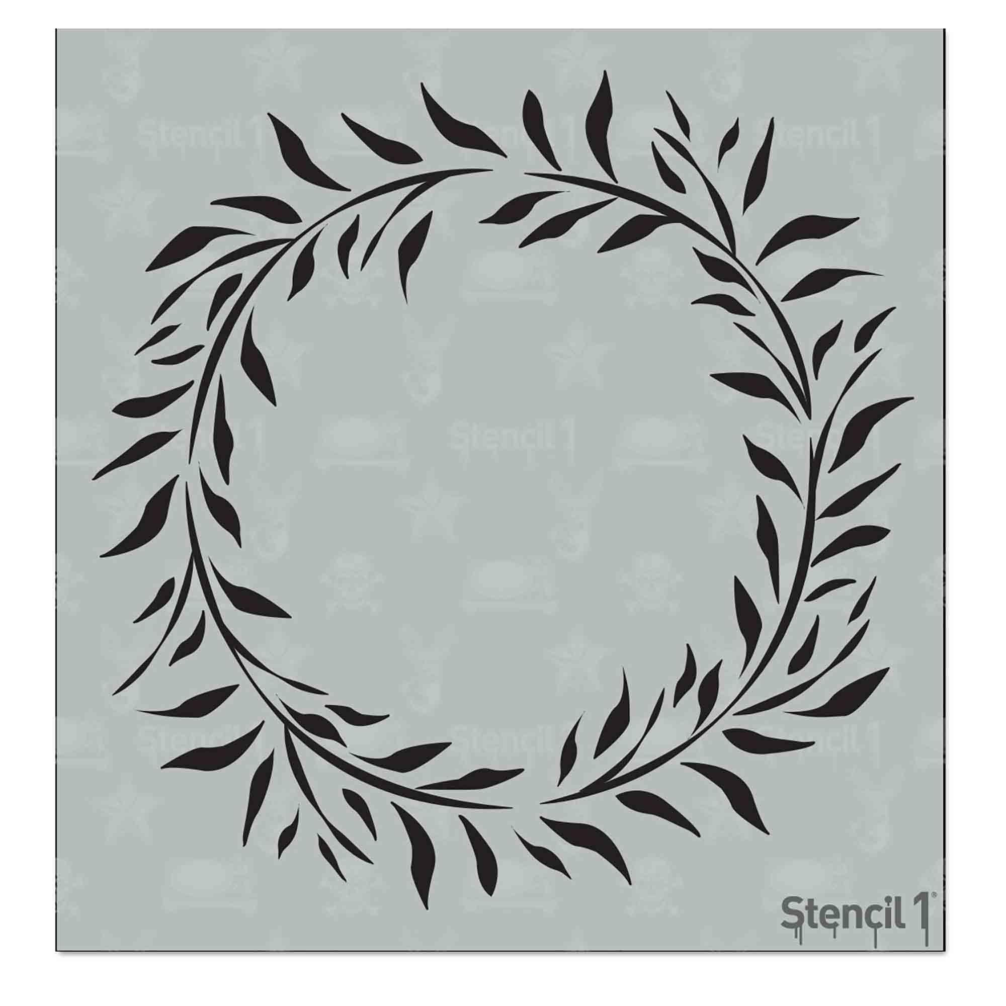 Eucalyptus Leaf Wreath Stencil Small 5 75 X 6 Stencil 1