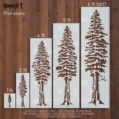 Large Christmas Stencils For Wood.Redwood Trees Stencil Large